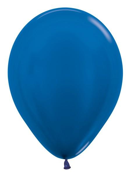 """R12 540 Balon okrągły 12"""" metalik niebieski  Sklep Balonolandia"""