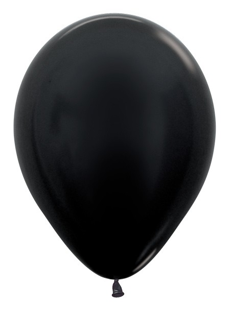 "R12 580 Balon okrągły 12"" metalik czarny  Sklep Balonolandia"