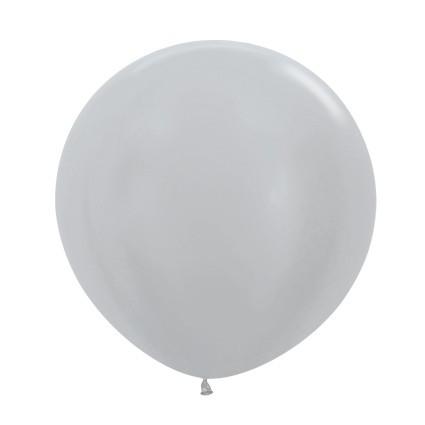 "R24 481 Balon okrągły 24"" perłowy srebrny  Sklep Balonolandia"
