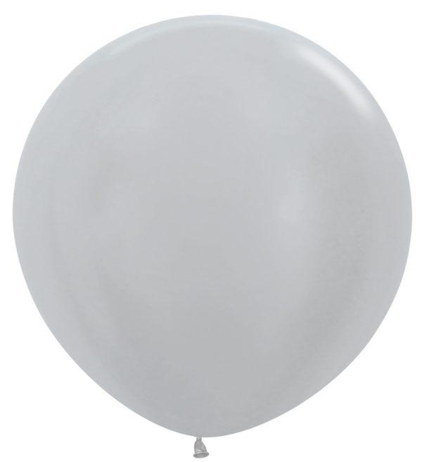 Balon kulisty 36 perłowy srebrny
