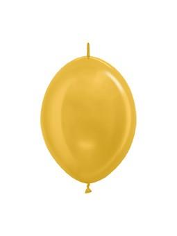 """LOL6 570 Balon z łącznikiem 6"""" metalik złoty  Sklep Balonolandia"""