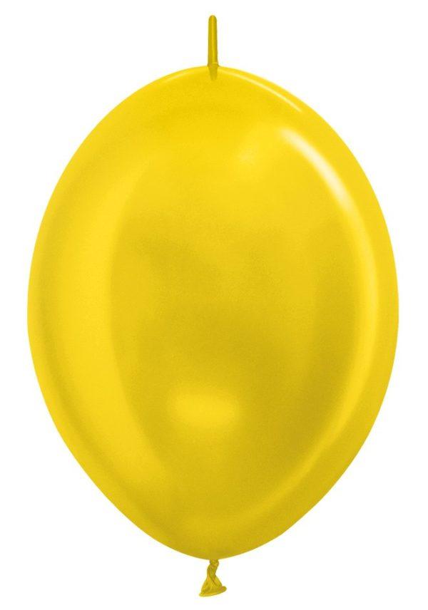 """LOL12 520 Balon z łącznikiem 12"""" metalik żółty  Sklep Balonolandia"""