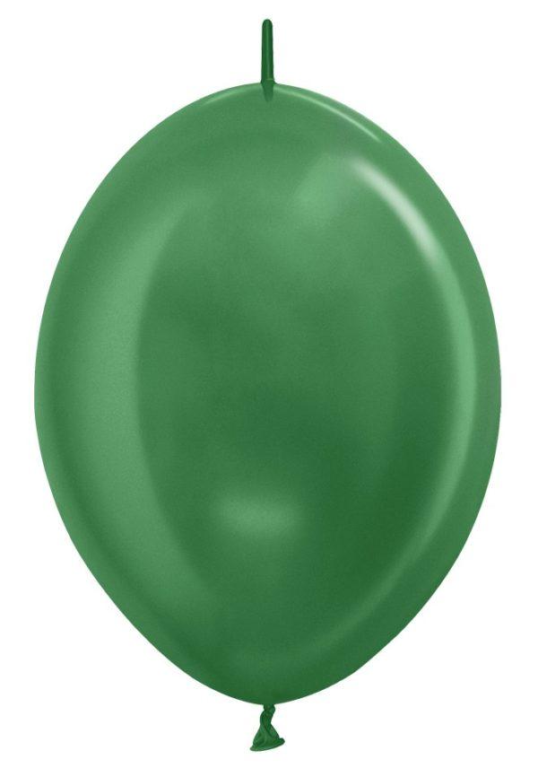 """LOL12 530 Balon z łącznikiem 12"""" metalik zielony  Sklep Balonolandia"""