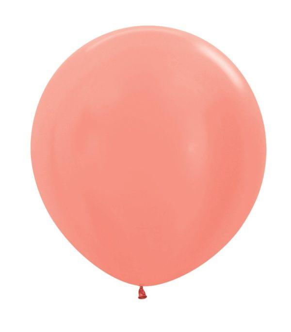 Balon kulisty 16 metalik różowe złoto