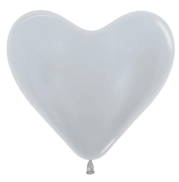 Balon serce 14 srebrne