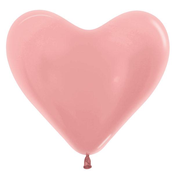Balon serce 14 różowe złoto