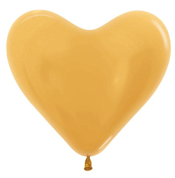 Balon serce 14 metalik złoty