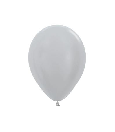 Balon okrągły 10 perłowy srebrny