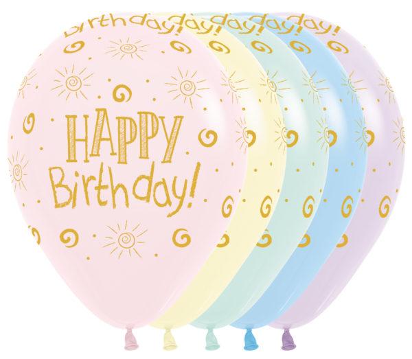 Sempertex Pastel Matte z nadrukiem Happy Birthday