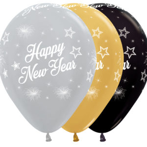 R12 NY Balon z nadrukiem Happy New Year