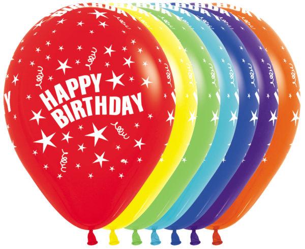 "R12 HBS Balon okrągły 12"" Happy Birthday Stars  Sklep Balonolandia"
