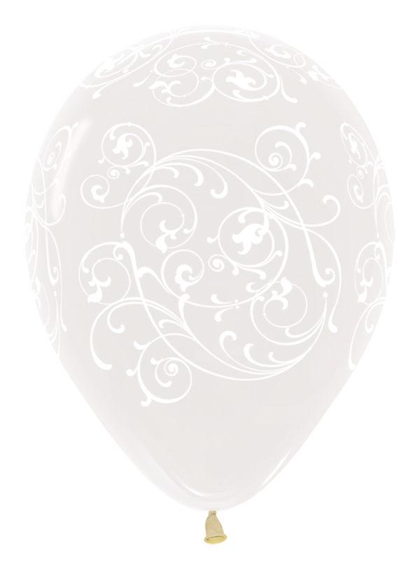 "R12 FILI390 balon okrągły 12"" Filigran transparentny Sklep Balonolandia"