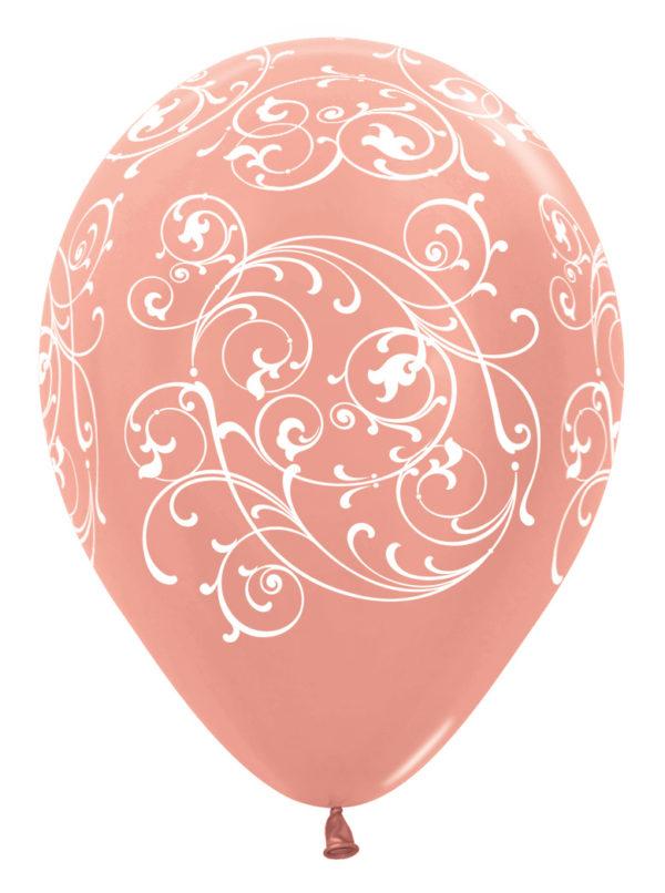 """R12 FILI568 balon okrągły 12"""" Filigran różowe złoto Sklep Balonolandia"""