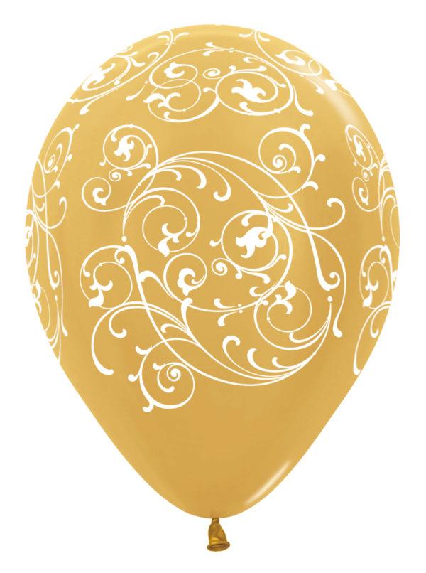 """R12 FILI570 balon okrągły 12"""" Filigran złoty Balonolandia 4Pro"""