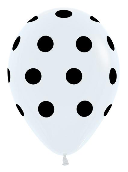 R12 PD005 Groszki - biały Sklep Balonolandia