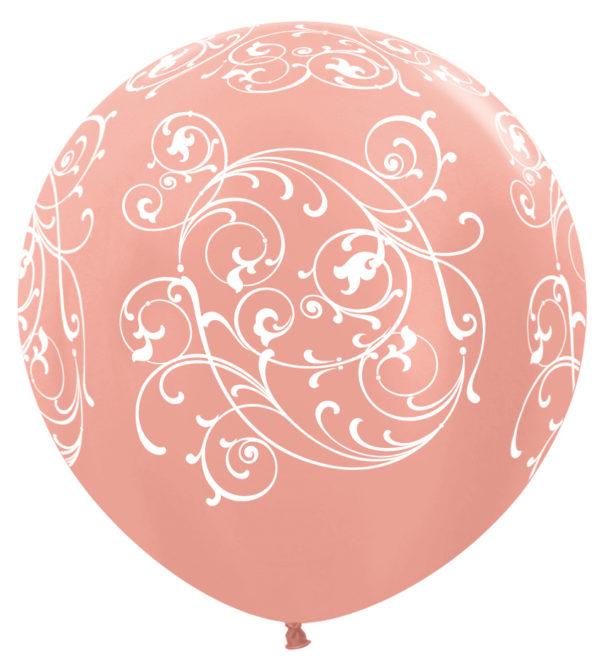 """R36 FILI568 balon okrągły 36"""" Filigran różowe złoto  Sklep Balonolandia"""