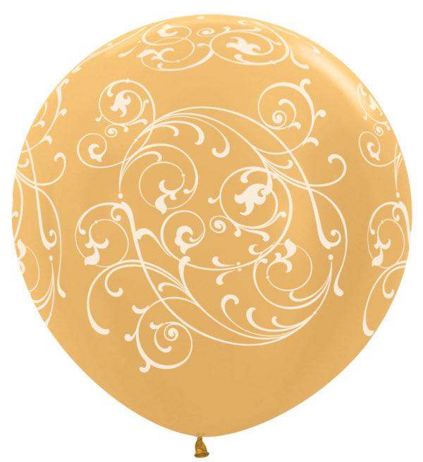 """R36 FILI570 balon okrągły 36"""" Filigran złoty Balonolandia 4Pro"""