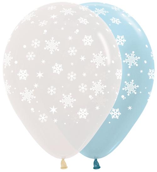 R12 SNOWF Balon z nadrukiem śnieżynki